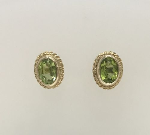 Oval Shaped Peridot Yellow Gold Rope Edged Stud Earrings